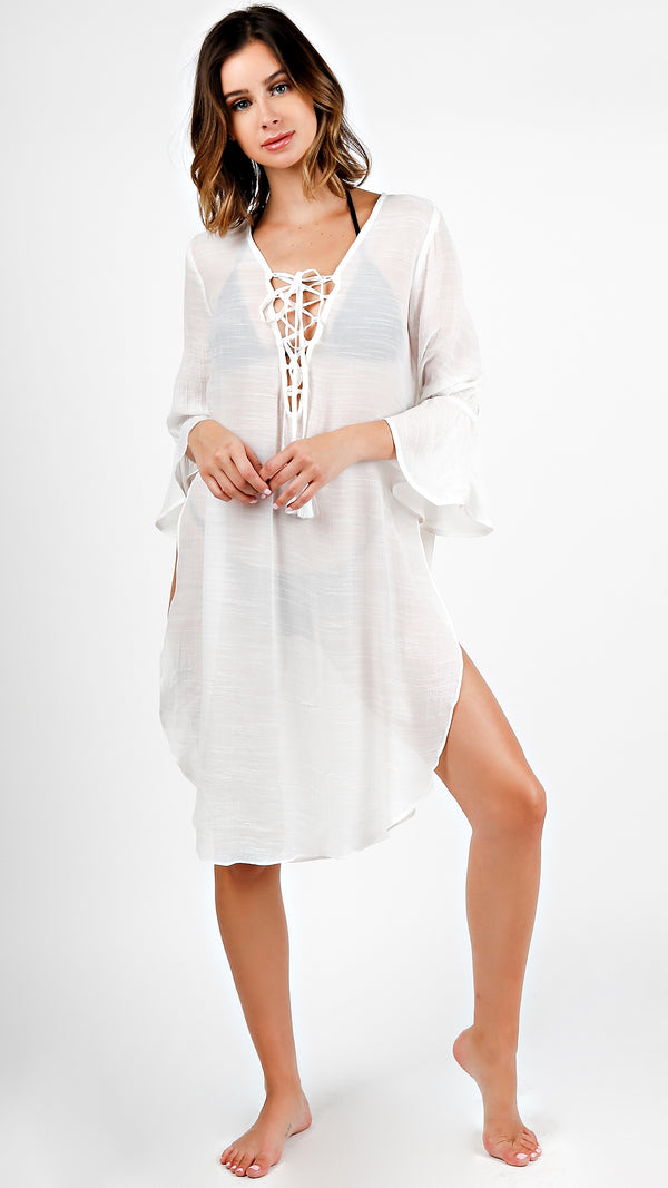 Bell Sleeve Lace Up Tunic Dress - ANGL