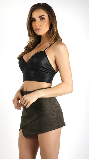 Pleather Cami X- Back Crop Top