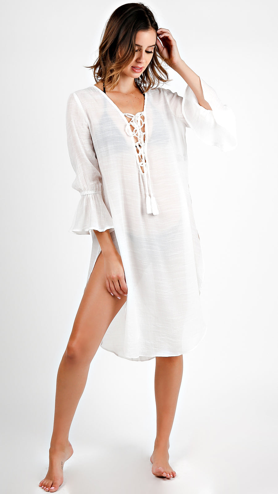 Bell Sleeve Lace Up Tunic Dress