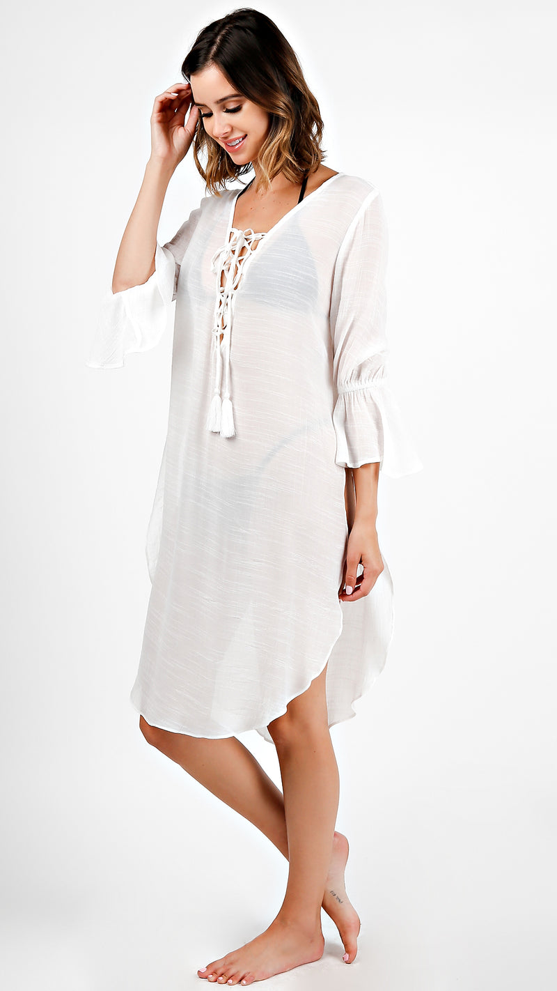 Bell Sleeve Lace Up Tunic Dress - Msky