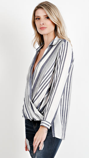Striped Collared Long Sleeve Wrap Top