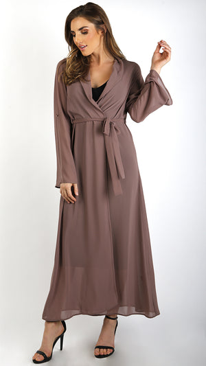 Chiffon Duster With Waist Tie