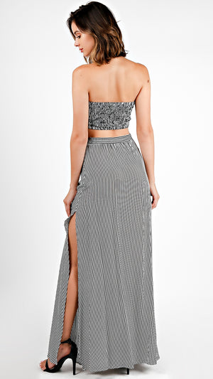 Striped Tie Front Tube Top And Maxi Skirt Set