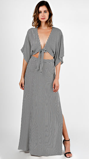 Striped Kimono Top And Maxi Skirt Set