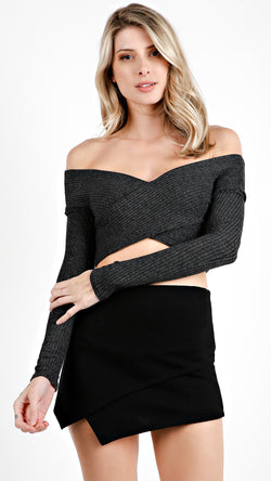Off Shoulder Criss Cross Long Sleeve Crop Top