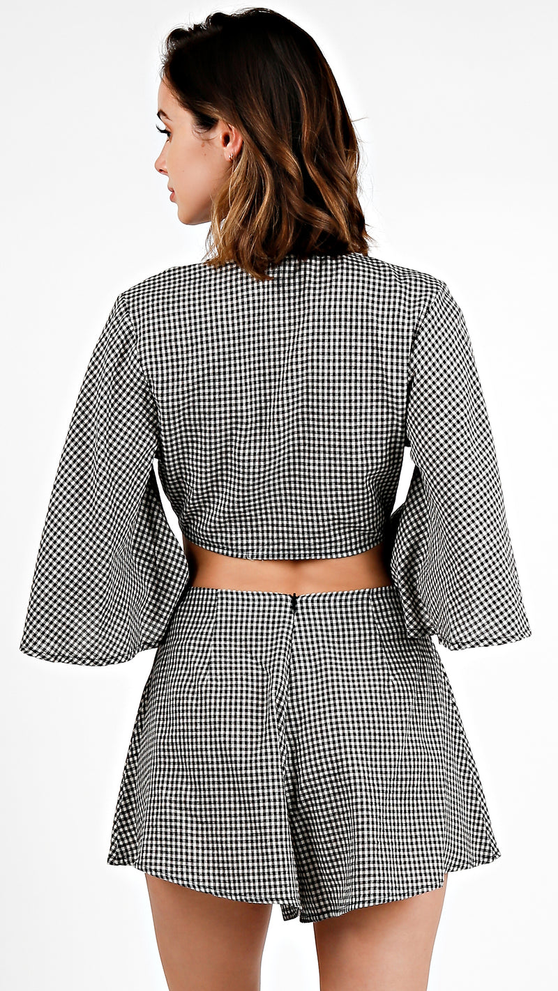Gingham Tie Front Top And Shorts Set