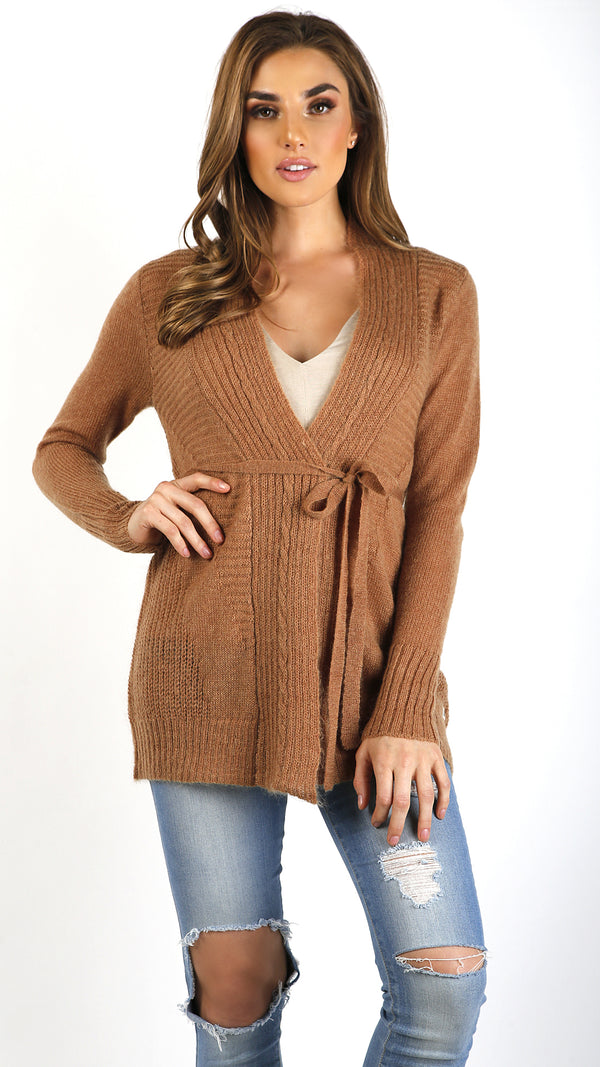 Knit Ribbed Cardigan- Mustard