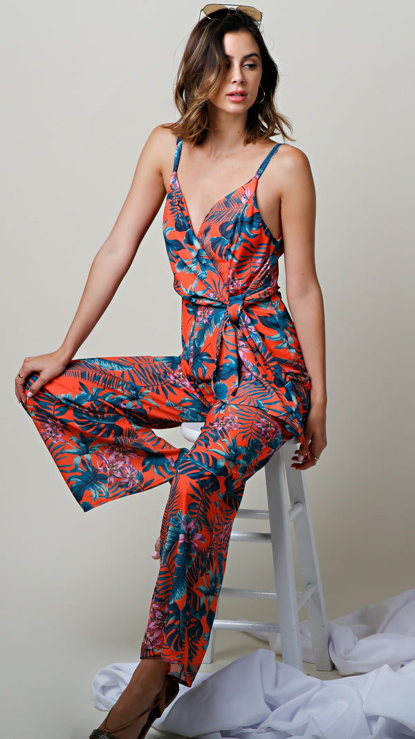 Tropical Warm Vibes Sleeveless Jumpsuit
