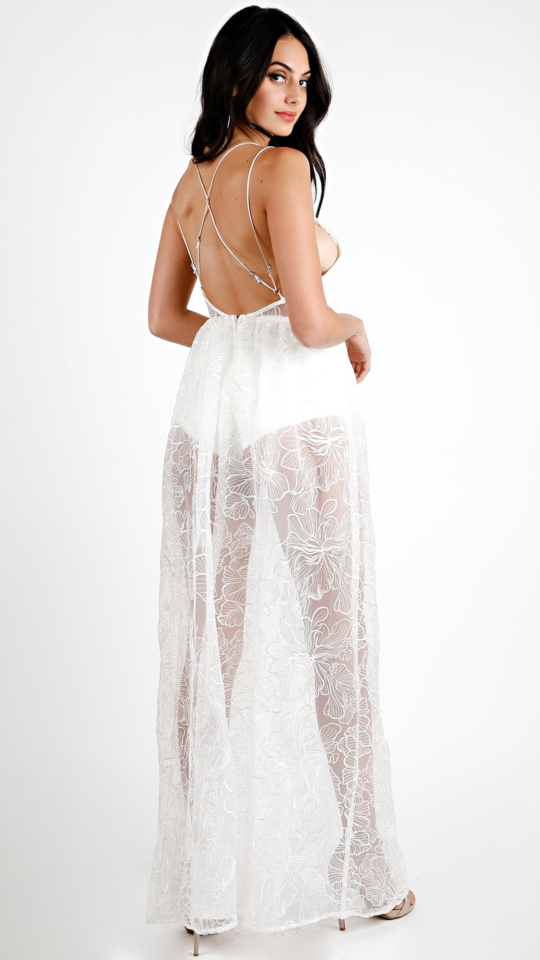 White Floral Mesh Maxi Dress - ANGL