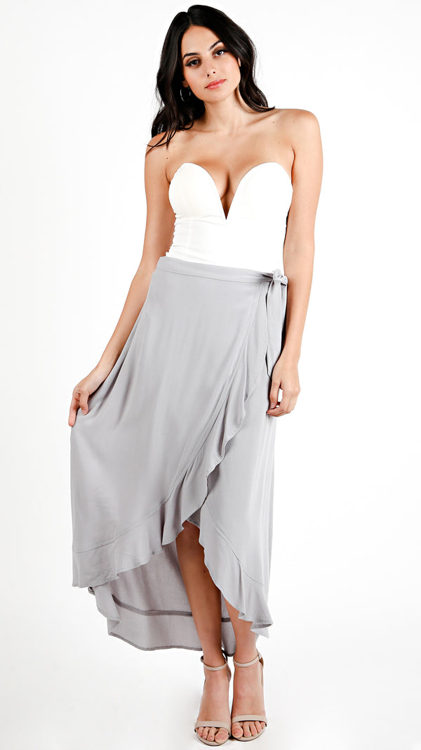 Side Tie Ruffle Maxi Skirt