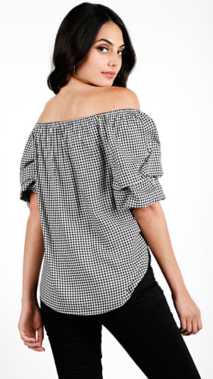 Gingham Bubble Sleeve Top