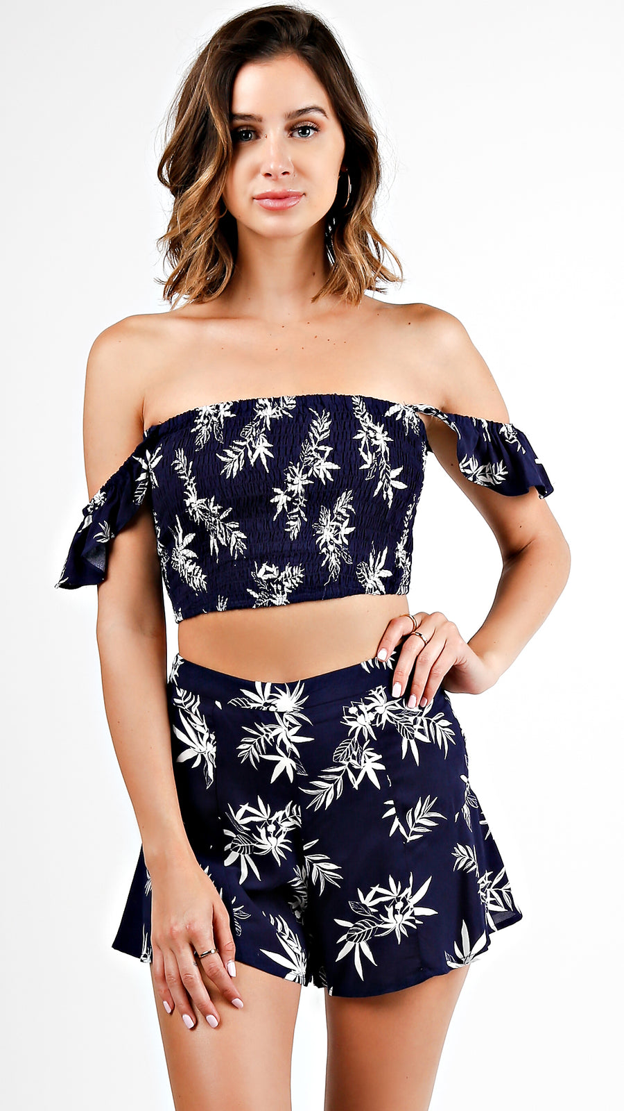 Floral Print Smocked Crop Top And Shorts Set