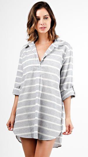 Striped Long Sleeve Collar Shirt