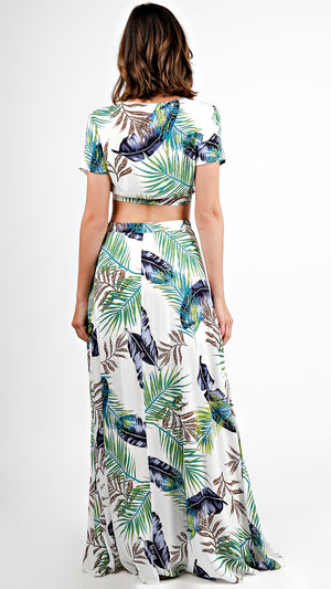 Palm Tree Tie Front Top And Maxi Skirt Set