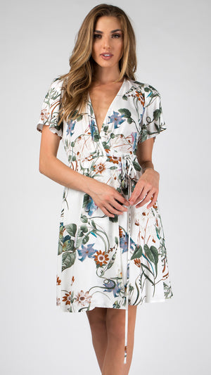 Floral Bell Sleeve Wrap Dress - ANGL