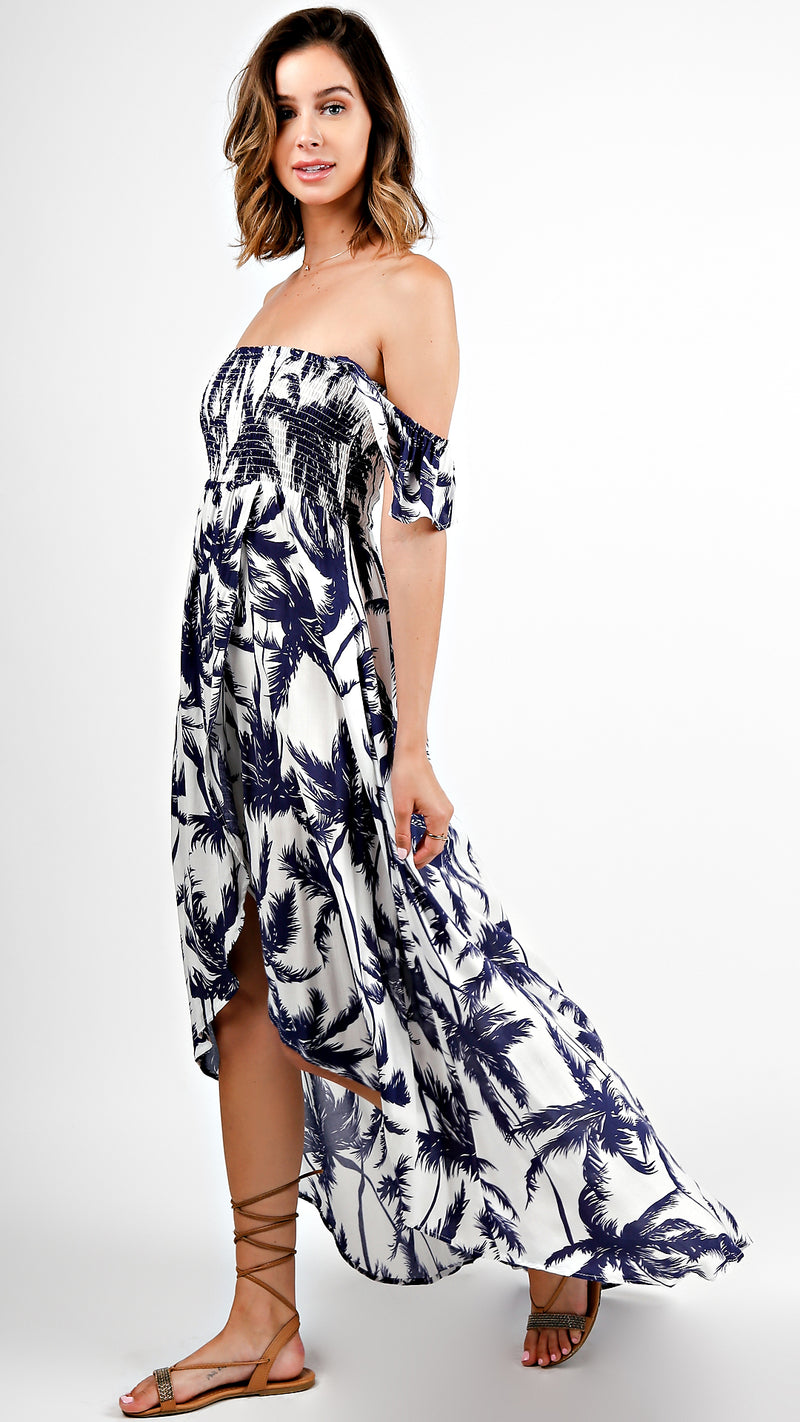 Off Shoulder Palm Tree High Low Maxi Dress