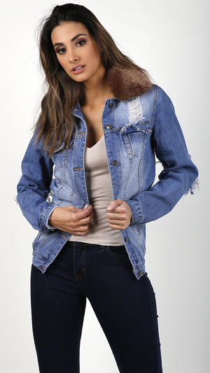Distressed Denim Jacket With Fur Collar