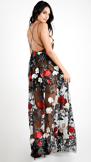 Floral Embroider Mesh Overlay Maxi Dress