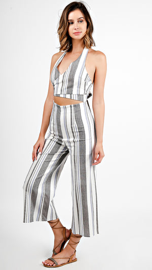 Striped Halter Crop Top And Pants Set