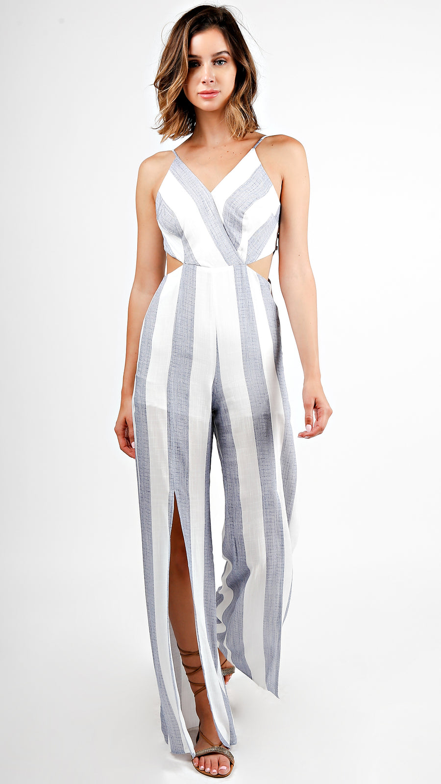 Striped Cut Out Jumpsuit With Slits