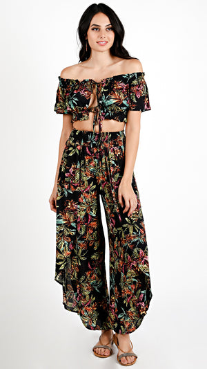 Warm Tropics Off Shoulder Crop Top