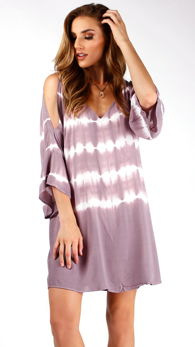 Mauve Tie Dye Cold Shoulder Dress