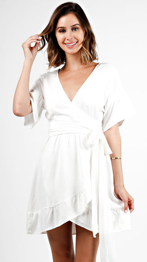 Short Sleeve Wrap Ruffle Dress