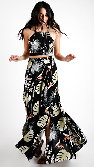 Tropic Leaf Floral Tie Crop Top With Maxi Skirt Set