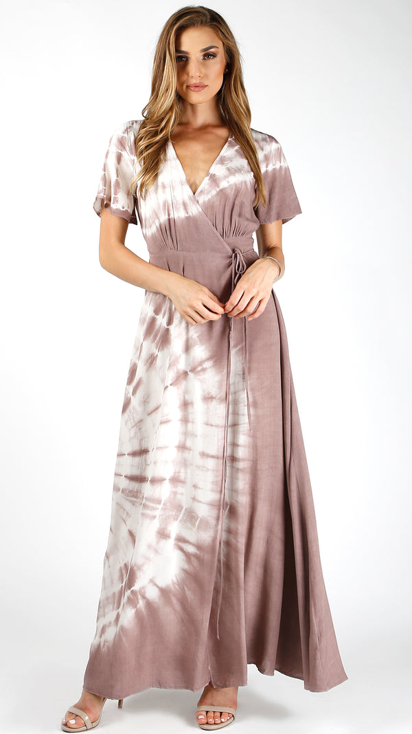 Mauve Tie Dye Wrap Dress