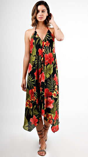 Tropical Floral Halter Neck Dress