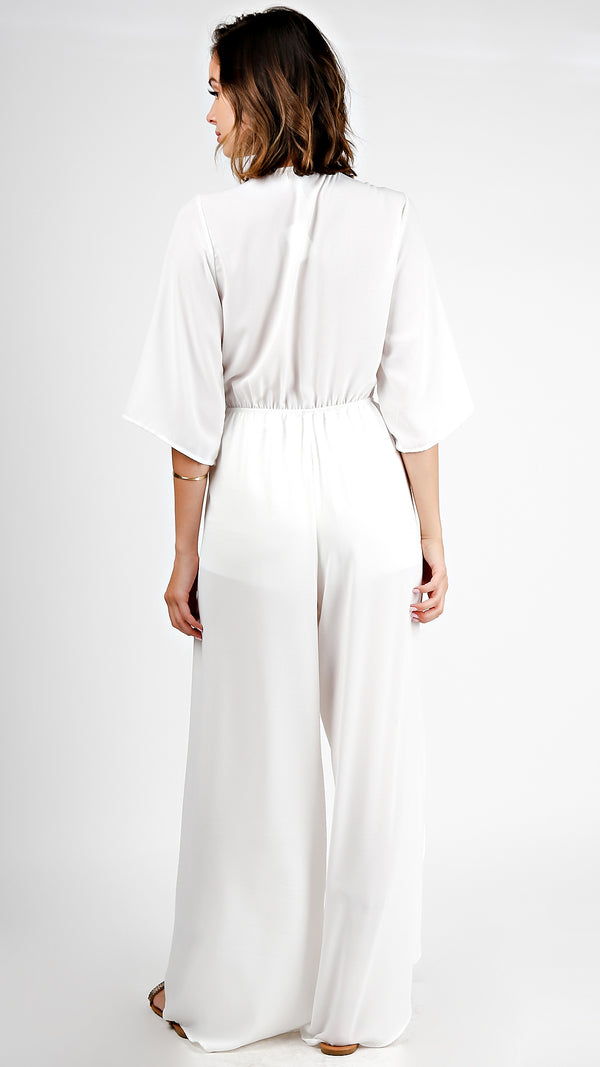 Linen Front Tie Jumpsuit With Slit