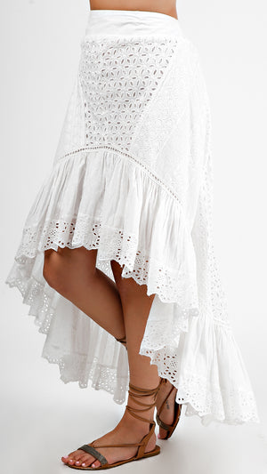 High Low Eyelet Skirt