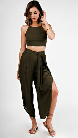 Crop Top And Pants Set- Olive - Msky