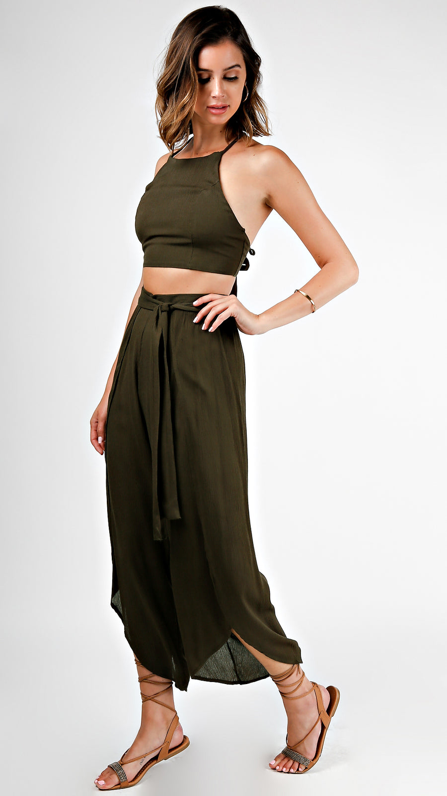Crop Top And Pants Set- Olive - ANGL
