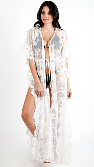 Lacey Sheer Maxi Cover Up- White
