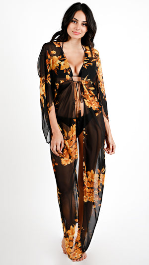 Amber Floral Tie Maxi Cover up - ANGL