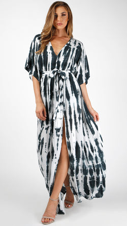 Streaks Of Blue Tie Dye Maxi Dress