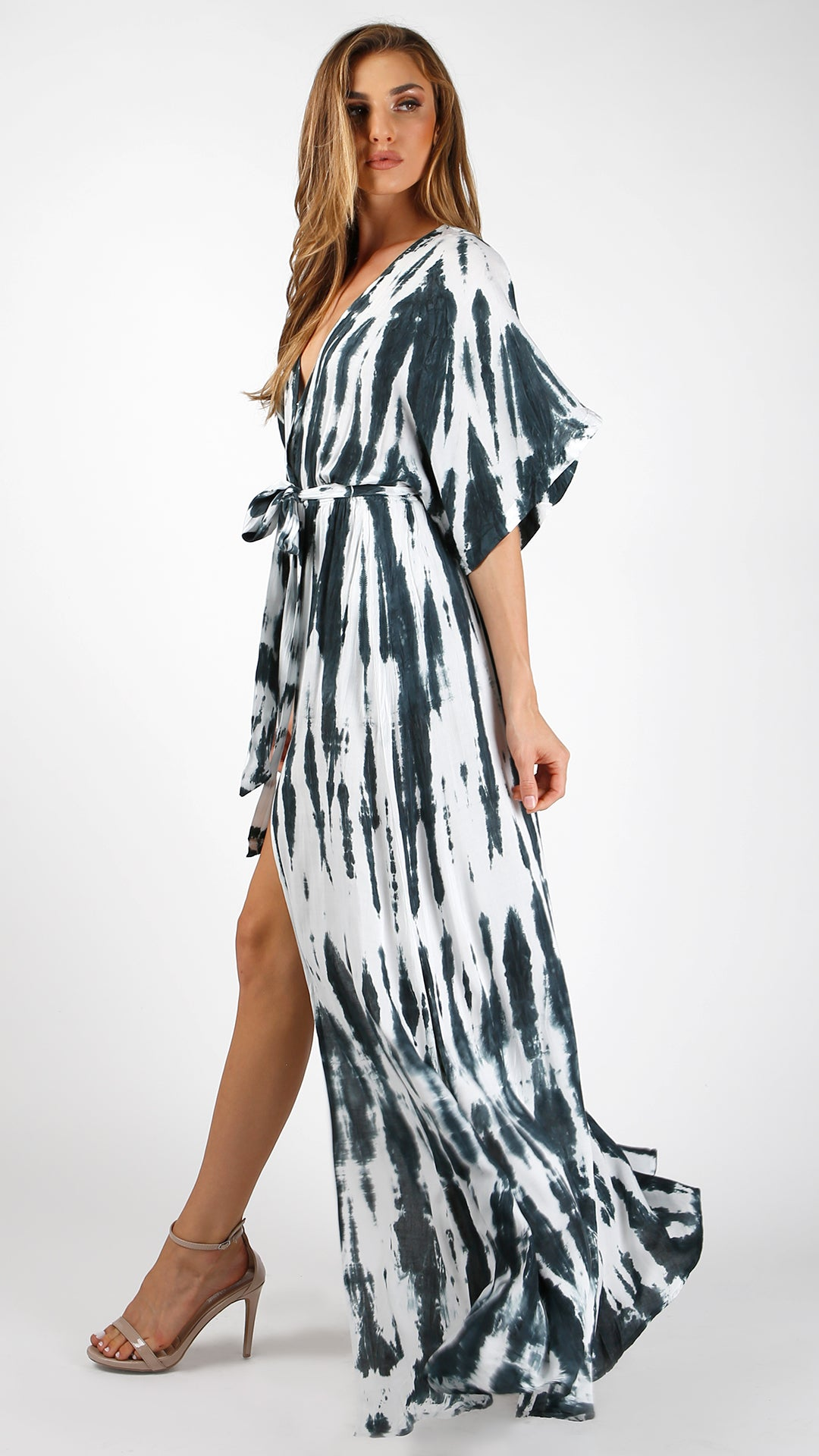Streaks Of Blue Tie Dye Maxi Dress Angl