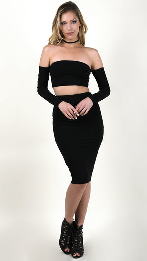 Sexy Bodycon Off Shoulder And Skirt Set
