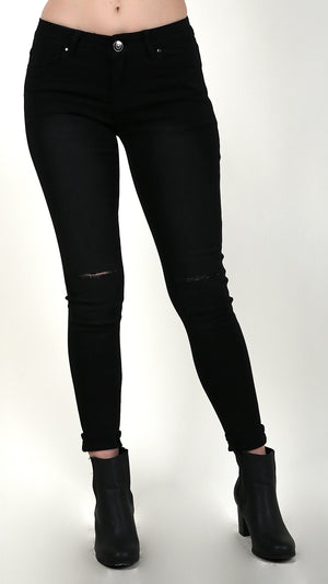 High Waisted Black Denim with Distressed Knees