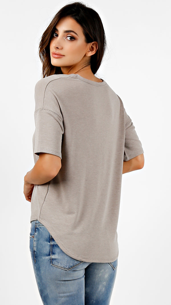 French Terry V-Neck Short Sleeve Top - ANGL