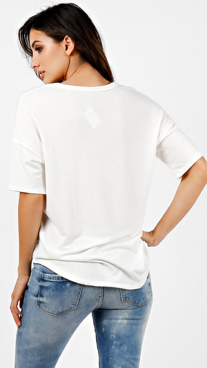 French Terry V-Neck Short Sleeve Top
