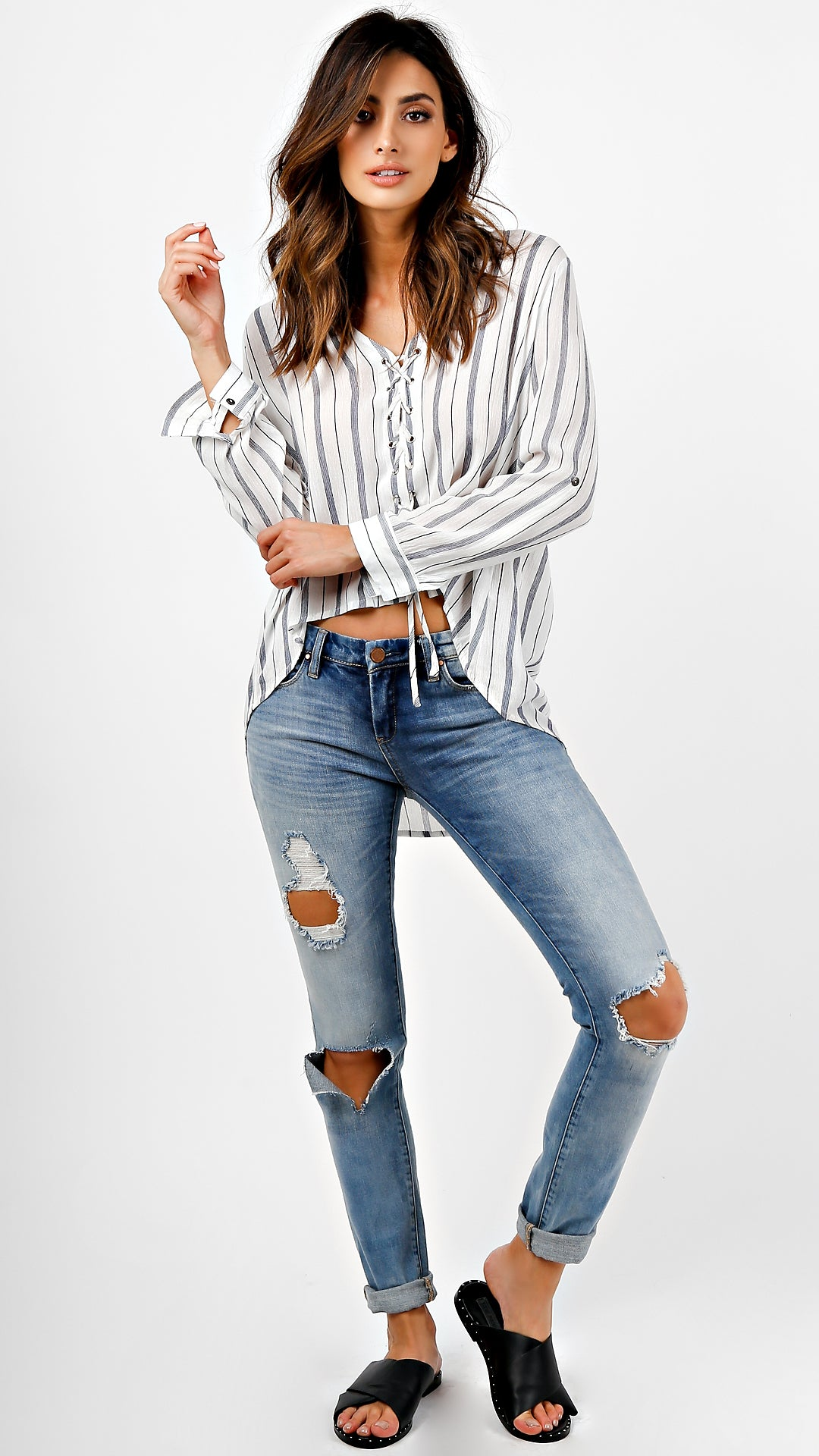 Striped Lace Up Long Sleeve Top