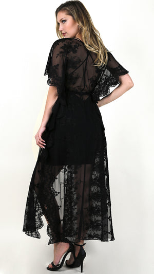 Lacey Sheer Maxi Cover Up- Black