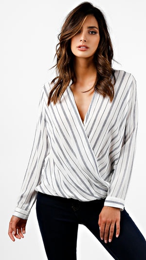 Striped Long Sleeve Wrap Top