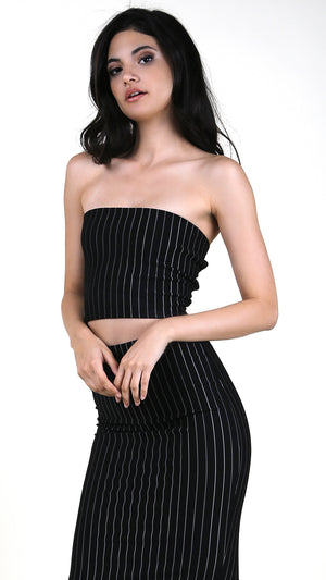 Striped Tube Top With Open Strap