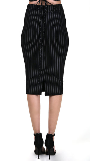 Striped Pencil Skirt With Back Slit