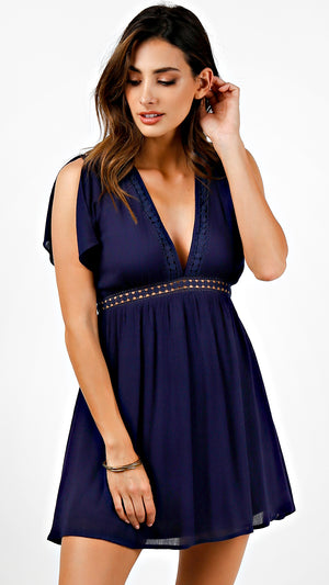 Lace Trim Low V-Neck Dress