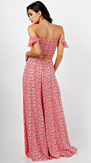 Off Shoulder Crop Top With Pants