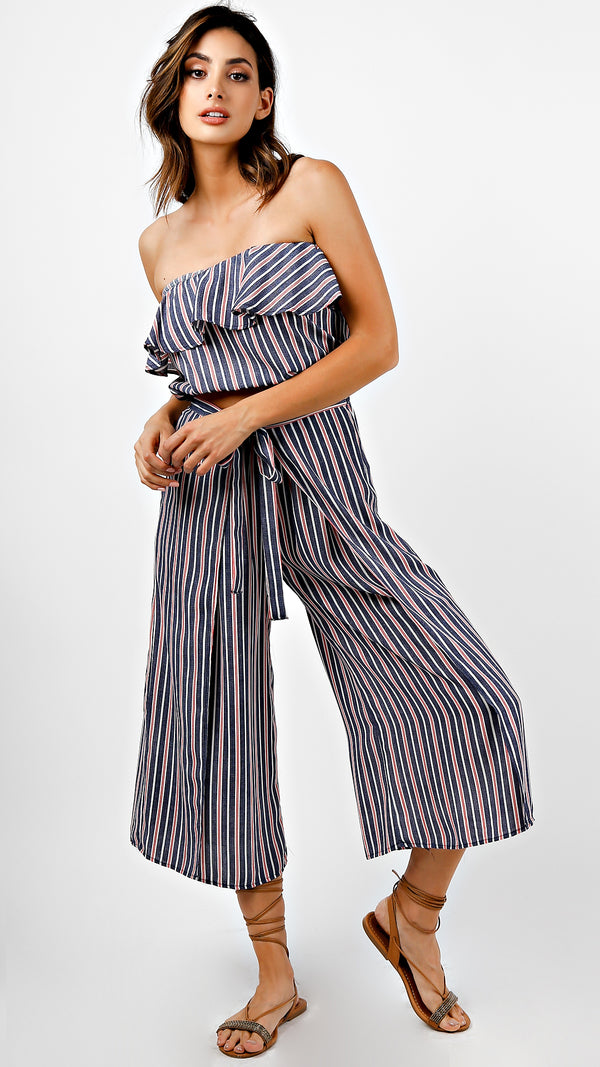Red White And Blue Striped Ruffle Crop Top And Pants Set